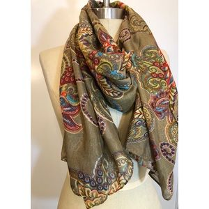 Olive Green Paisley Floral Scarf Wrap Sarong NWT